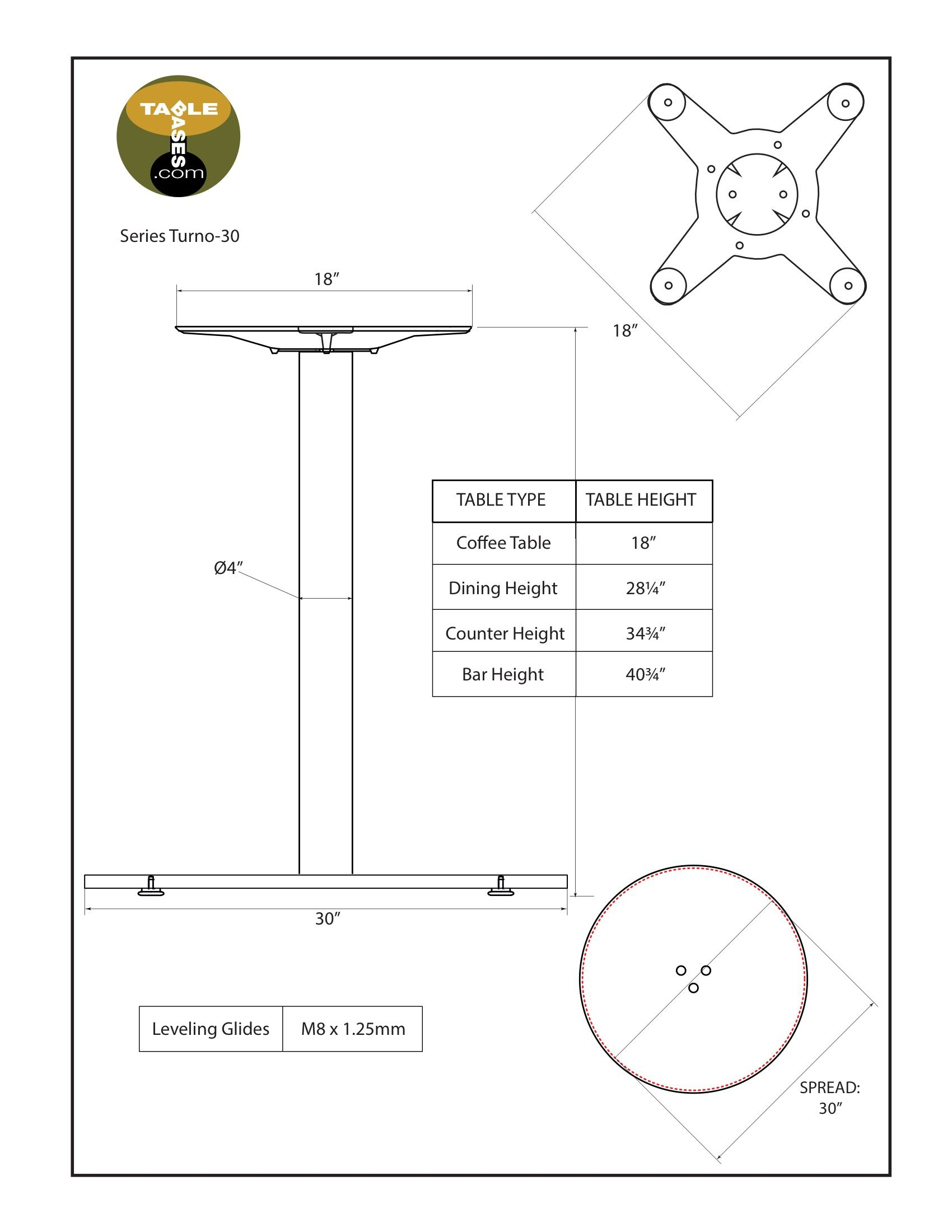 Turno-30 Table Base Specifications