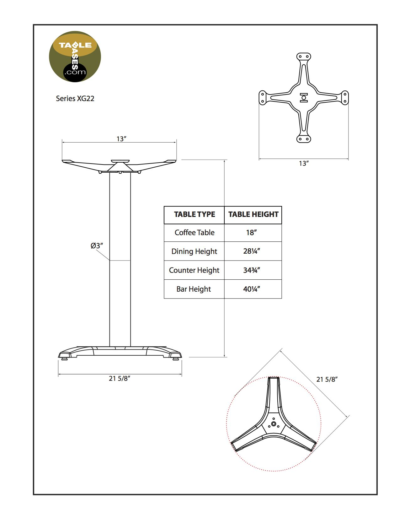XG22 Black Table Base - Specifications