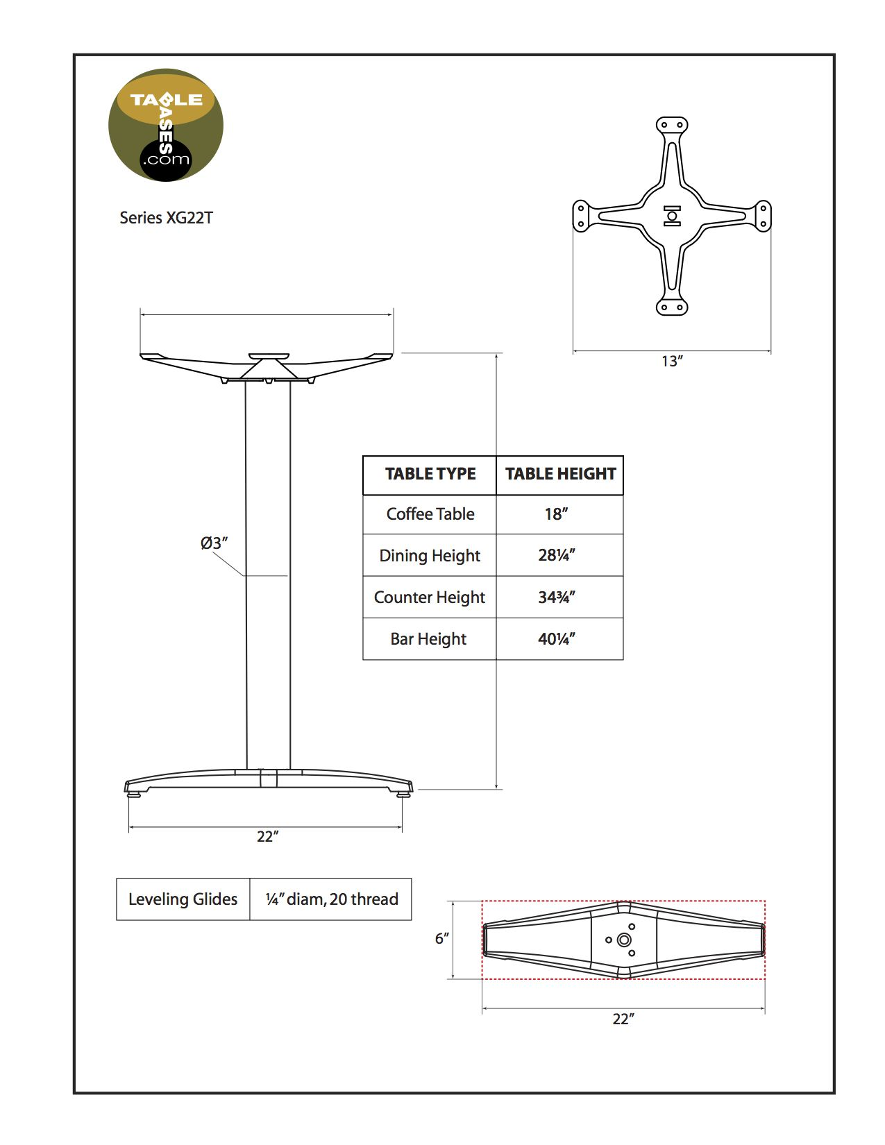XG22T Black Table Base - Specifications