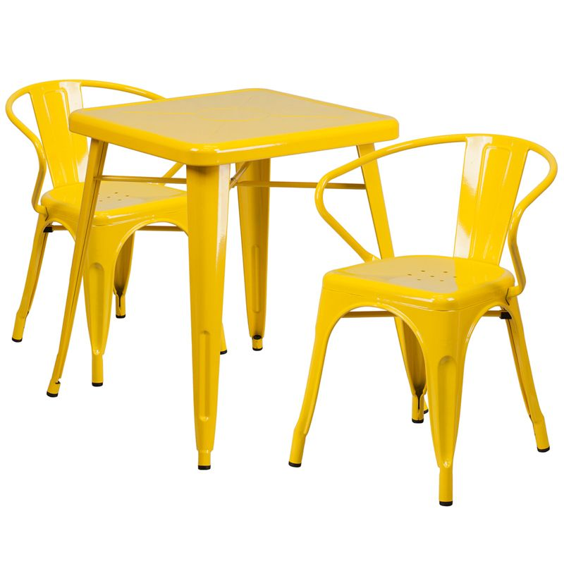 """24"""" Square Metal Cafe Table with Two Arm Chairs - Yellow"""