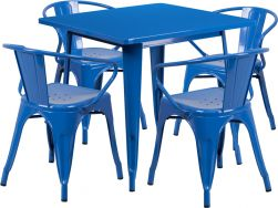 "32"" Square Metal Dining Table Set - Blue"