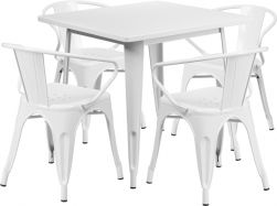 "32"" Square Metal Dining Table Set - White"