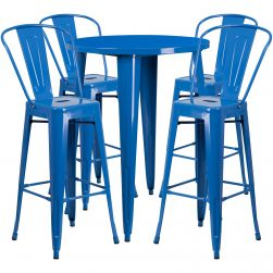 "30"" Round Metal Bar Table Table Set - Four Bar Stools - Blue"