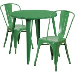 "30"" Round Metal Dining Table Set - Stack Chairs - Green"