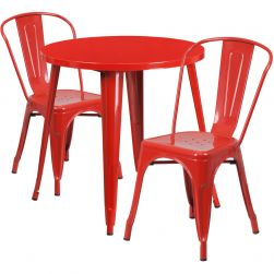"""30"""" Round Metal Dining Table Set - Stack Chairs - Red"""