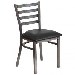 Ladder Back Metal Restaurant Chair - Clear Coat Frame - Black Vinyl Seat