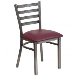 Ladder Back Metal Restaurant Chair - Clear Coat Frame - Burgundy Vinyl Seat