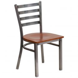Ladder Back Metal Restaurant Chair - Clear Coat Frame -Cherry Wood Seat