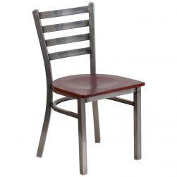 Ladder Back Metal Restaurant Chair - Clear Coat Frame - Mahogany Wood Seat