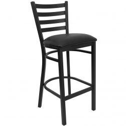 Ladder Back Metal Restaurant Bar Stool - Black Frame - Black Viinyl Seat
