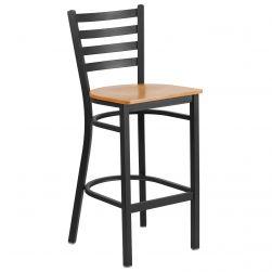 Ladder Back Metal Restaurant Bar Stool - Black Frame - Natural Wood Seat