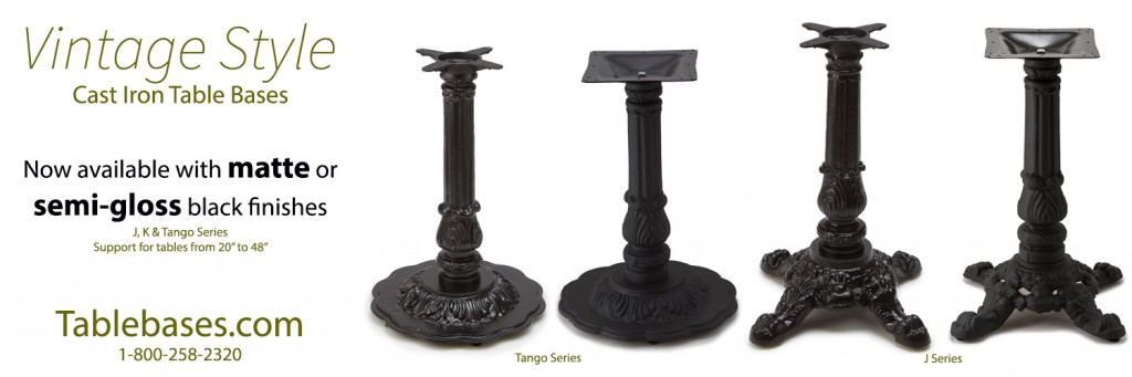J K Amp Tango Series Table Bases Now With Matte Or Semi